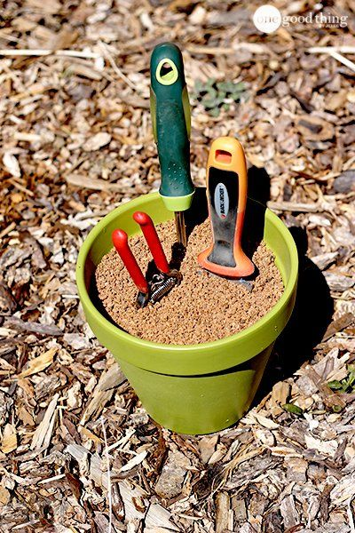 Make Your Own Self-Cleaning & Sharpening Garden Tool Holder - One Good Thing by Jillee
