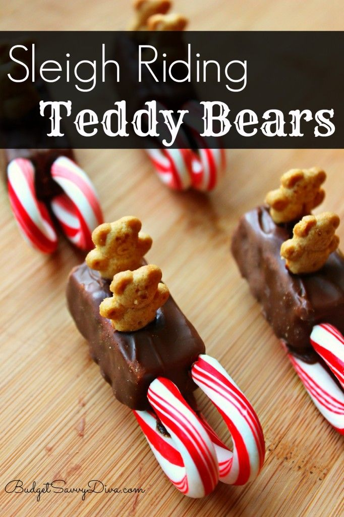 How CUTE!!!! Only takes 10 minutes to make 10 of these cute treats - perfect for the kids to make - Sleigh Riding Teddy Bears Recipe