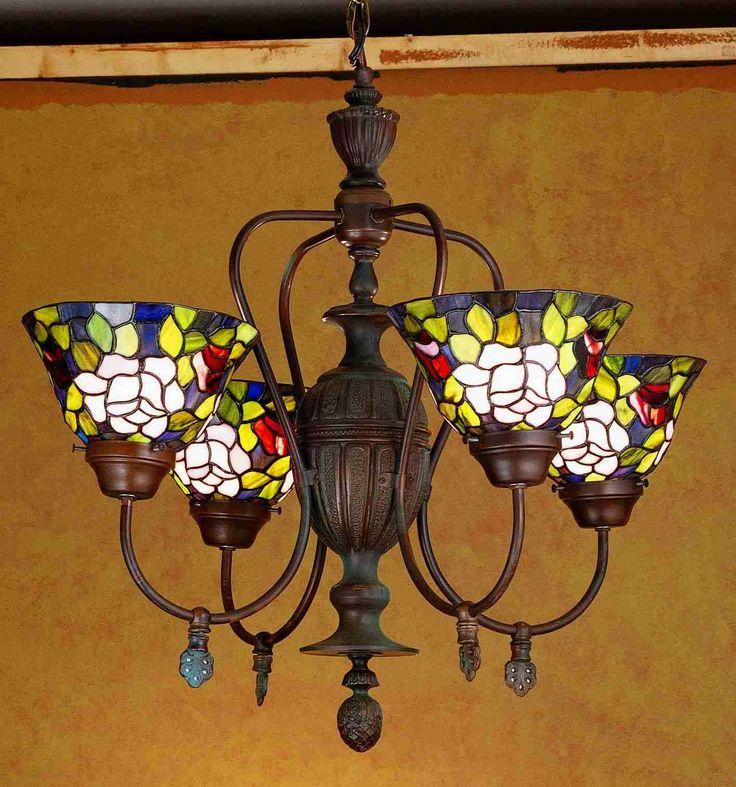 4 Light Rose Garden Tiffany Style Chandelier