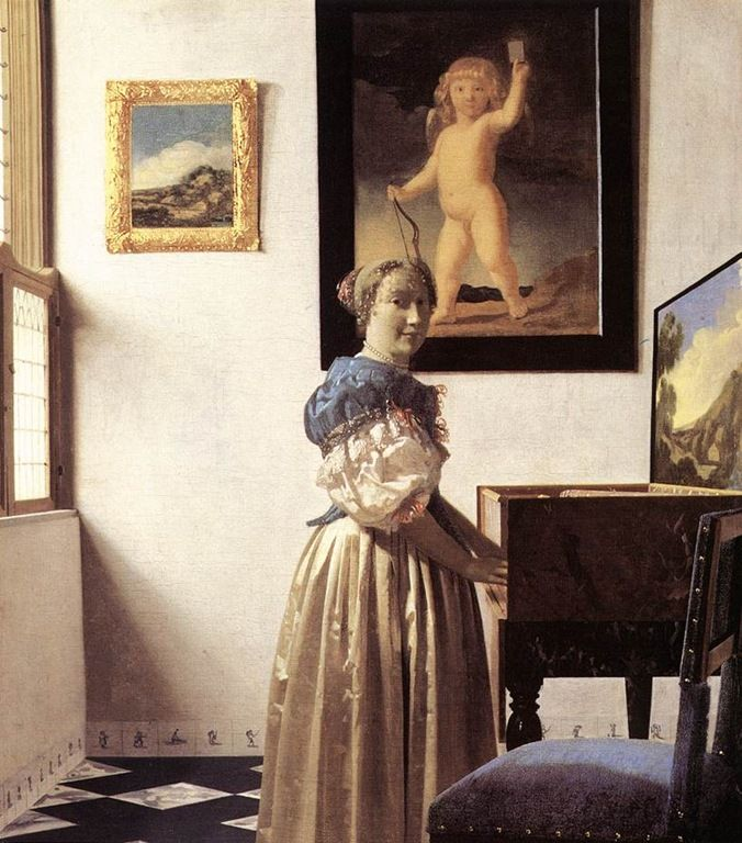 """Johannes Vermeer """"Lady Standing at a Virginal"""", Oil on canvas, 51.7 cm × 45.2 cm, in National Gallery, London"""
