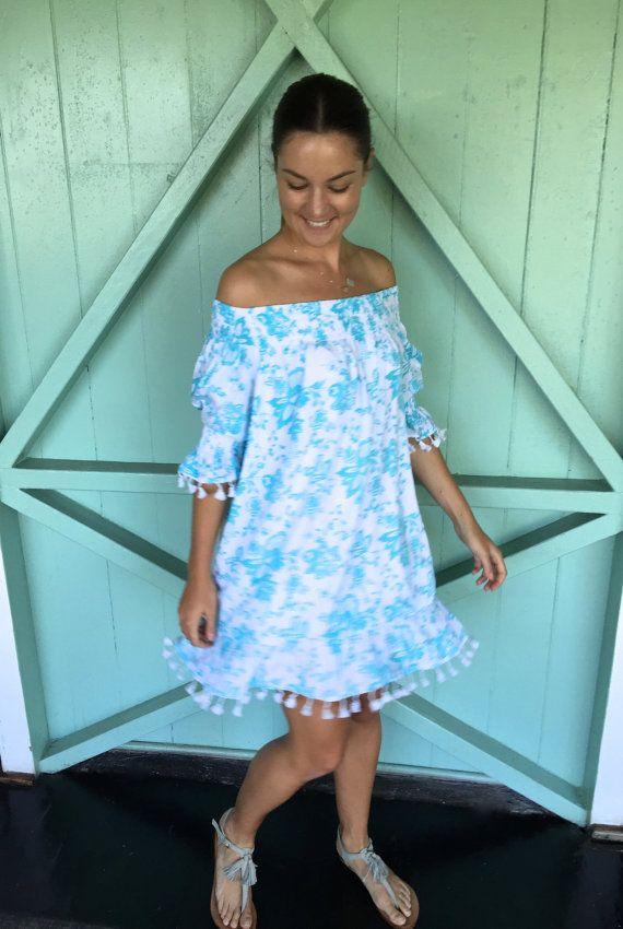 Mimi Summer Dress Beach Dress Tropics AQUA Tassel Off by Piyama