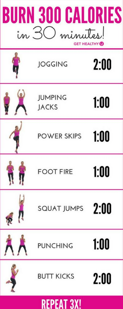 The average person burns about 100 calories per mile. To burn 300 calories in 30 minutes, you can run 3 miles, or you can try this dynamic calorie-burning cardio workout. It's just as challenging as a run, but a whole lot more fun. It has jumps and moves that will take the monotony out of running on a treadmill or going on a sedentary bike.
