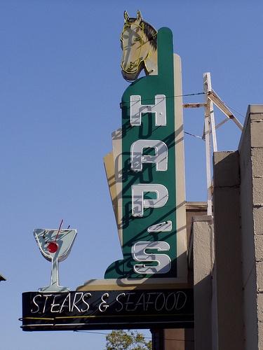 Hap's Steak and Seafood neon sign, Pleasanton, CA Photo credit: Tom Spaulding