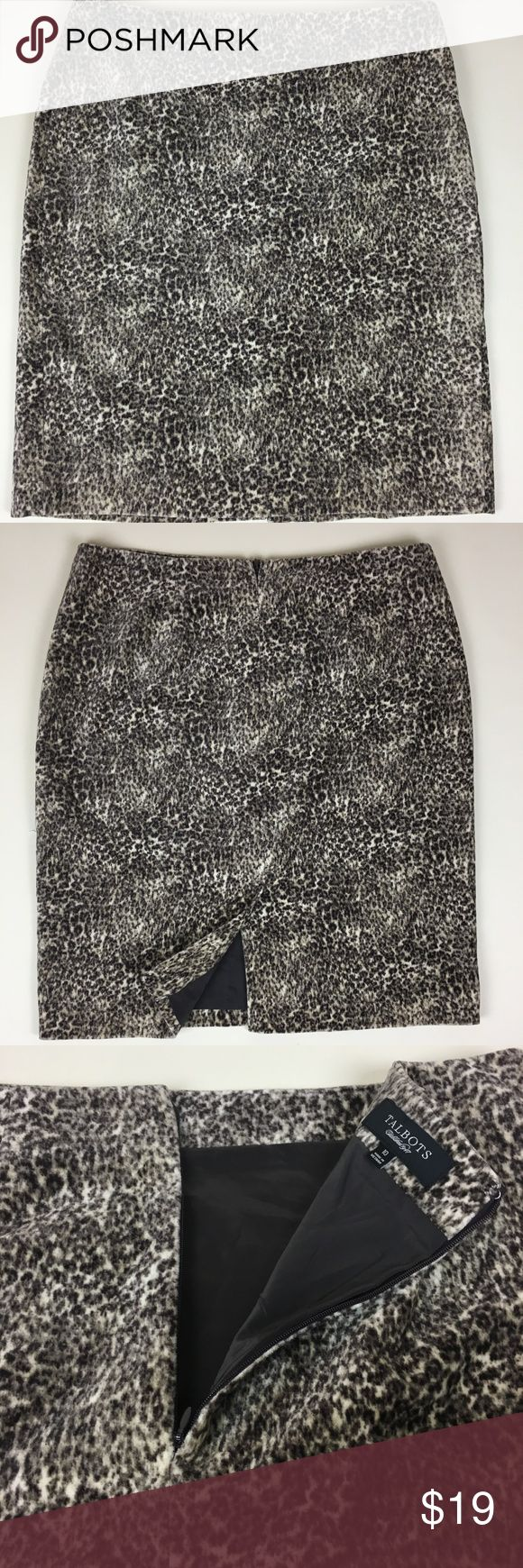 Talbots Skirt Velvet Leopard Animal Print Size 10 I think every woman needs a leopard print skirt. It's always going to be in style.  This one is very chic and stylish for the cooler months and is an appropriate length for work and other occasions. Length measures 22 inches.  It's a velvet-style pencil skirt in a size 10.  It has a modest slit in the back that measures 7 inches.  Back zipper closure. 100% cotton shell. Fully lined with 100% polyester.  In excellent pre-owned condition…