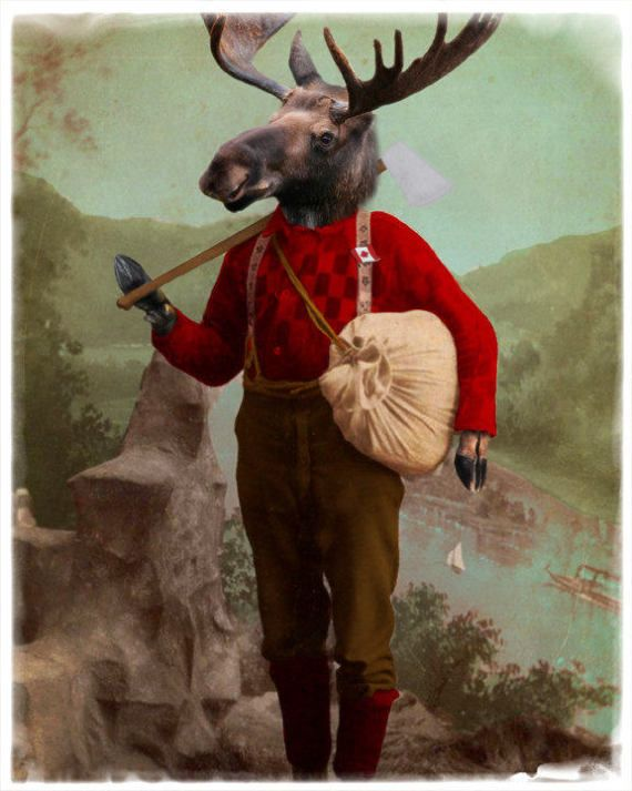 Moose Decor Art Print Lumberjack Canadian Canada 150
