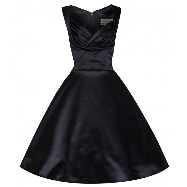 Ophelia Black Satin Swing Dress | Vintage Inspired Fashion - Lindy Bop