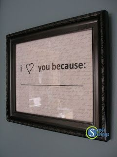 DIY I Love You Because Frame- change the message each day, perfect for Valentine's Day!