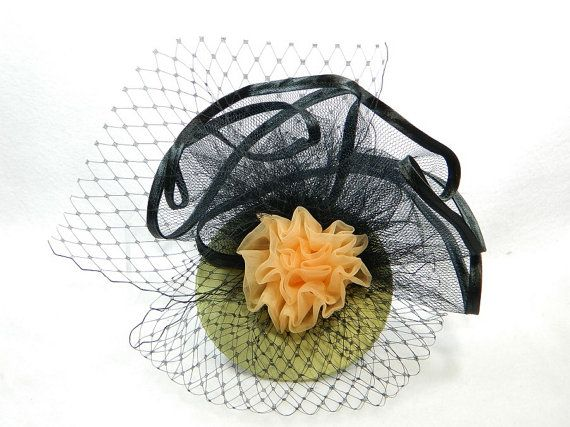 Fascinator green apricot black Ladies Hat Cocktail by Nashimiron
