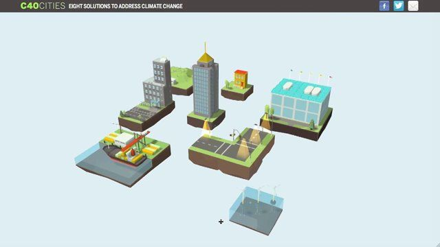 Eight Solutions to Address Climate Change is a fully web-based interactive 3D infographic built in WebGL. Our concept was to create the experience of exploring an idealistic fully green city by bringing together case studies and best practices from megacities around the world into a single city block. The eight case study solution examples represent each of the C40 Cities target sectors: buildings, energy, lighting, ports, renewables, transportation, waste and water to demonstrate the ...