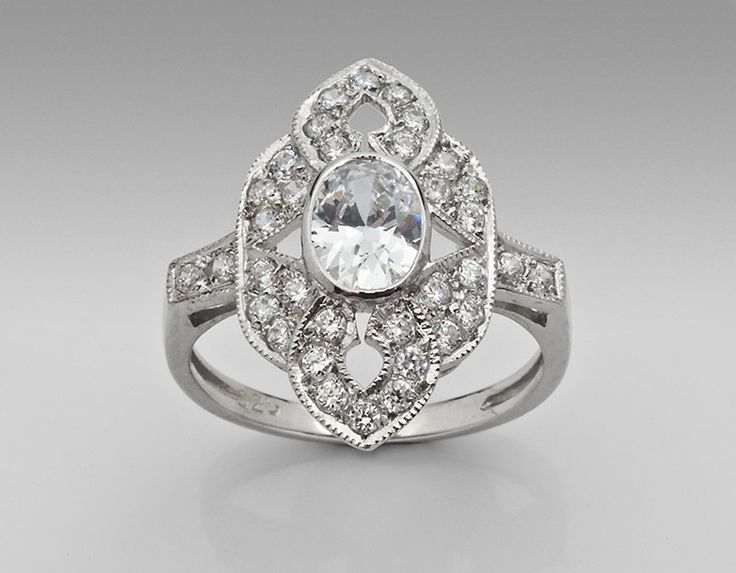 Sterling Silver Ring Antique Inspired with Cubic Zirconia - only $42.90