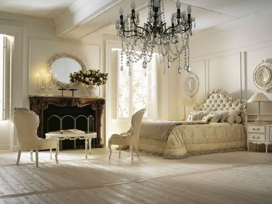 This Is My Dream Bedroom! Huge Chandelier, Padded Headboard, Cream Sheets  And Comforter