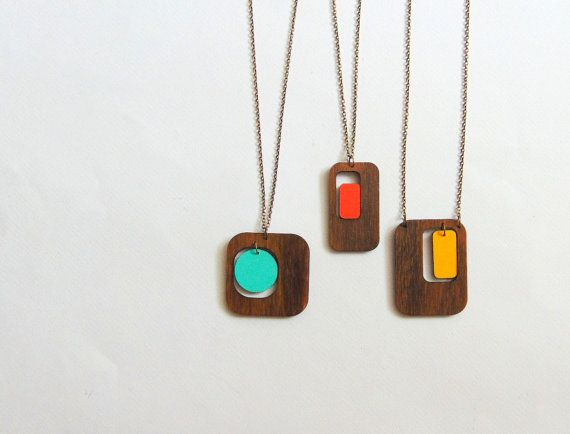 This retro inspired necklaces is design from me ,laser cut natural wood hand painted Very light and comfortably.  This sale is for one necklace you