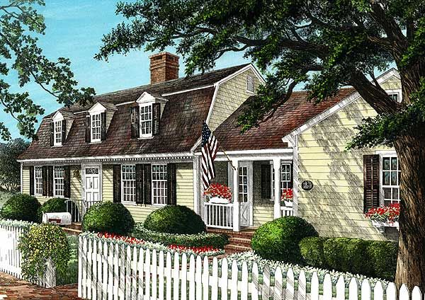 Admirable cape cod home plan cape cod traditional 4 for Dutch colonial garage plans