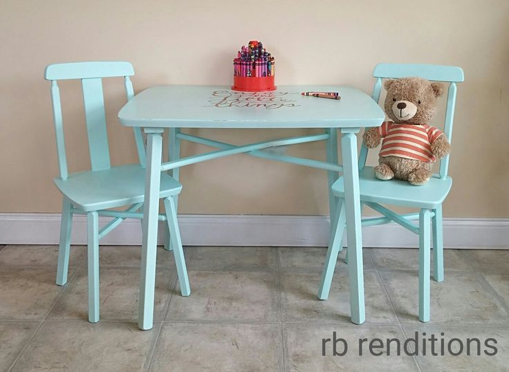 Kids table and chairs in Little Teapot by Fusion Mineral Paint.
