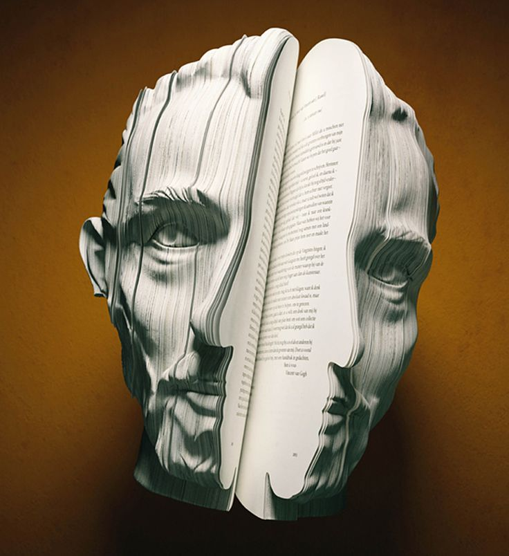 Wow. I'm gobsmacked by these biographies that are crafted as a 3d portrait of the subject. The concept is genius and the execution flawless. Follow the link for more examples and credits.Book Art, Book Sculpture, The Real, The Face, Funny Pictures, Vans Gogh, Book Weeks, Facebook, Anne Frank