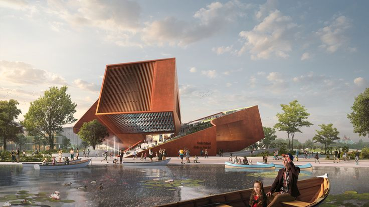 UNStudio Wins France's Largest Private Architecture Competition for Cultural Cinema Center in EuropaCity,Entrance. Rendering by Flying Architecture. Image Courtesy of UNStudio