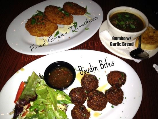 """YUM.  Fried Green Tomatoes, Boudin Bites & Gumbo.  All at a new local place in Navarre Florida Called """"Stinky's Fish Camp"""""""