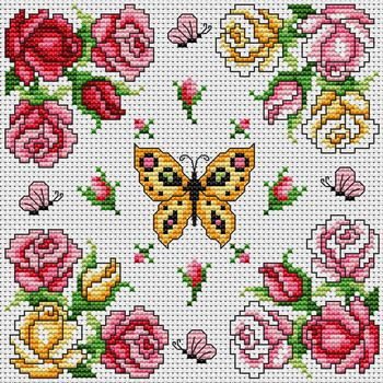 Cross-stitch butterfly and roses~~Cross Stitchers Club