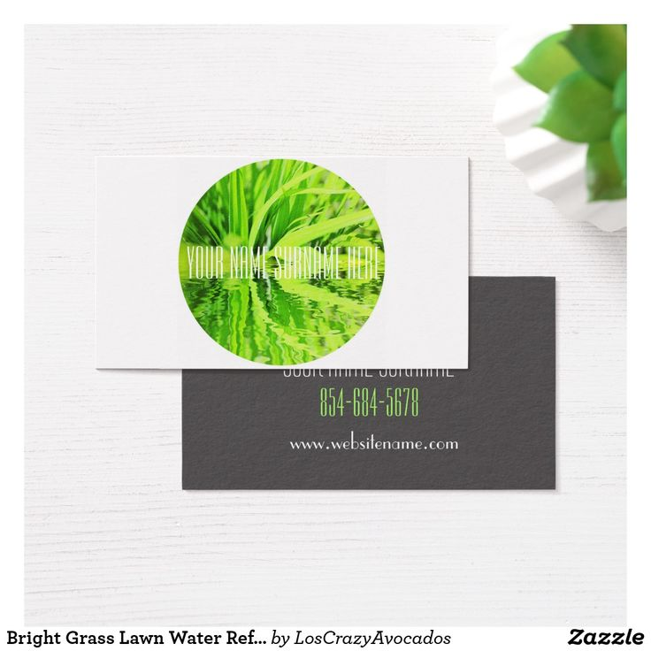 Bright Grass Lawn Water Reflection Business Card