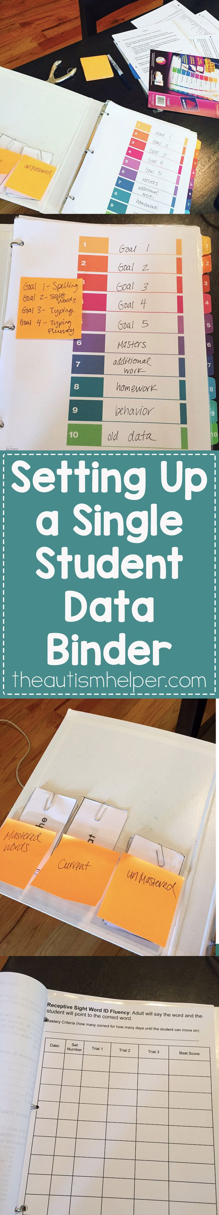 Having a separate data binder, clipboard, or area for data for each student is a great way to stay organized plus makes writing IEPs a bit quicker. It's perfect for one on one paraprofessionals & in-home therapists! From theautismhelper.com #theautismhelper