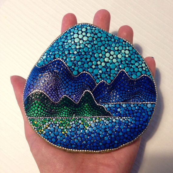 Big Dot Art Sunset stone - Painted stone painted rock Fairy garden marker decoration stone art dotilism blue