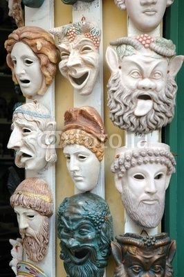 Although our piece is set in modern day, it still has much Greek influence. It would be appropriate to possibly arrange a traditional Greek mask on the set. Maybe a mask of Helen's face to leave the audience with a constant reminder of what drove the entire plot. Also, it is aesthetically intriguing.