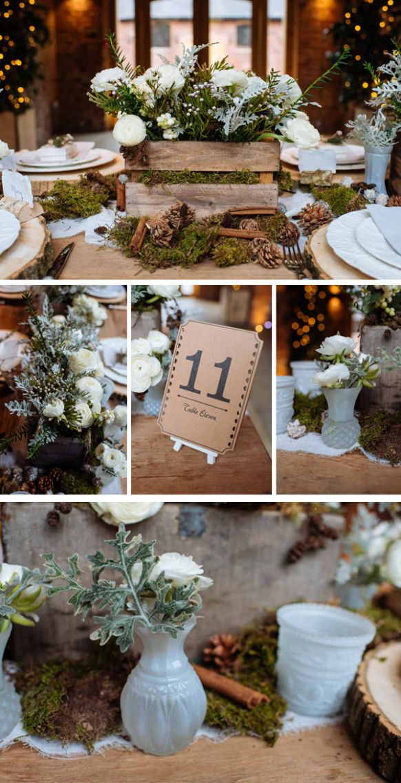 Winter Rustic Wedding Ideas Center Pieces November Wedding