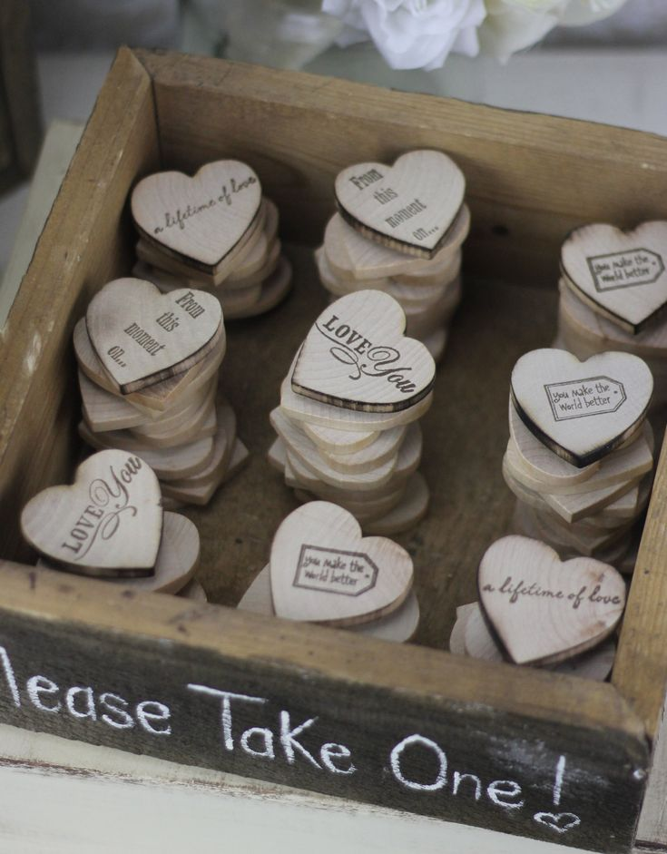 Wedding Favors Wood Heart Magnets Inside Rustic Box (item P10140)