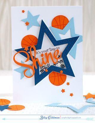 Time-to-shine masculine, sports, basketball shaker card by Betsy Veldman