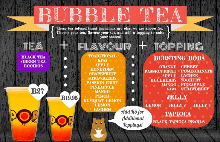 Bubble Tea Menu, NEW!