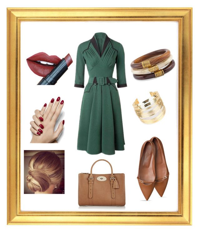 Green & Tan & Red by rosehage on Polyvore featuring polyvore, fashion, style, Mulberry, Chico's, WithChic, Fiebiger, women's clothing, women's fashion, women, female, woman, misses and juniors