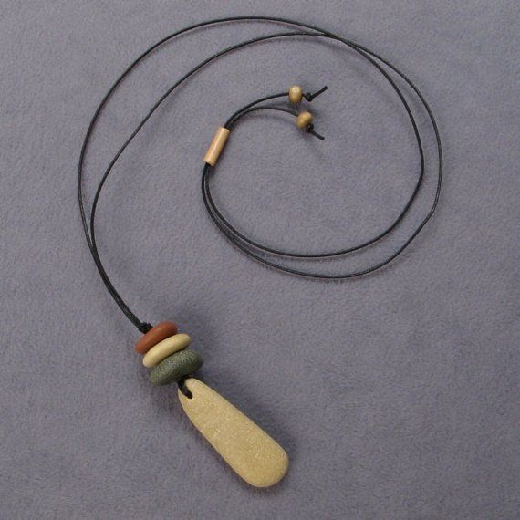 Natural beach stone necklace, personal talisman,one of a kind