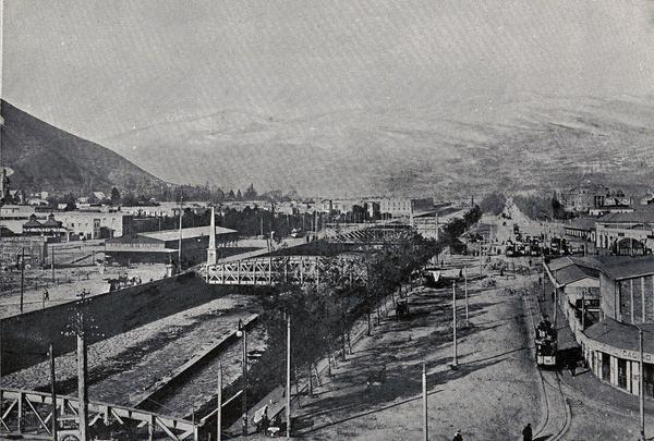 Puentes sobre el Mapocho y sus alrededores,presuntamente a principios de siglo XX