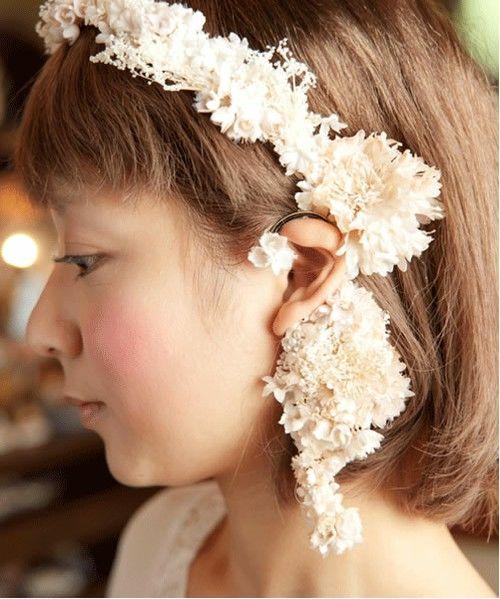 wedding(ウェディング)のパールとかすみ草のイヤーカフ*(イヤリング)|ホワイト