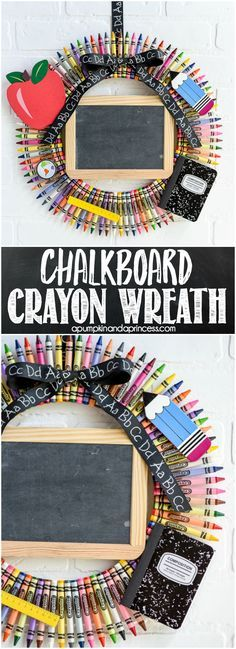 Chalkboard Crayon Wreath – great teacher gift idea! MichaelsMakers  A Pumpkin And A Princess