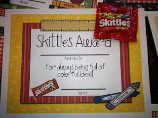 Cute ideas for end of year candy awards. Her TPT link isn't working though, so I might have to make my own!
