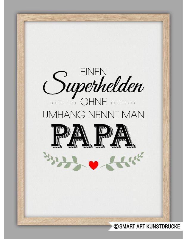 """Originaldruck - """"SUPERHELD PAPA"""" Kunstdruck, Vatertag... - ein Designerstück von Smart-Art-Kunstdrucke bei DaWanda"""