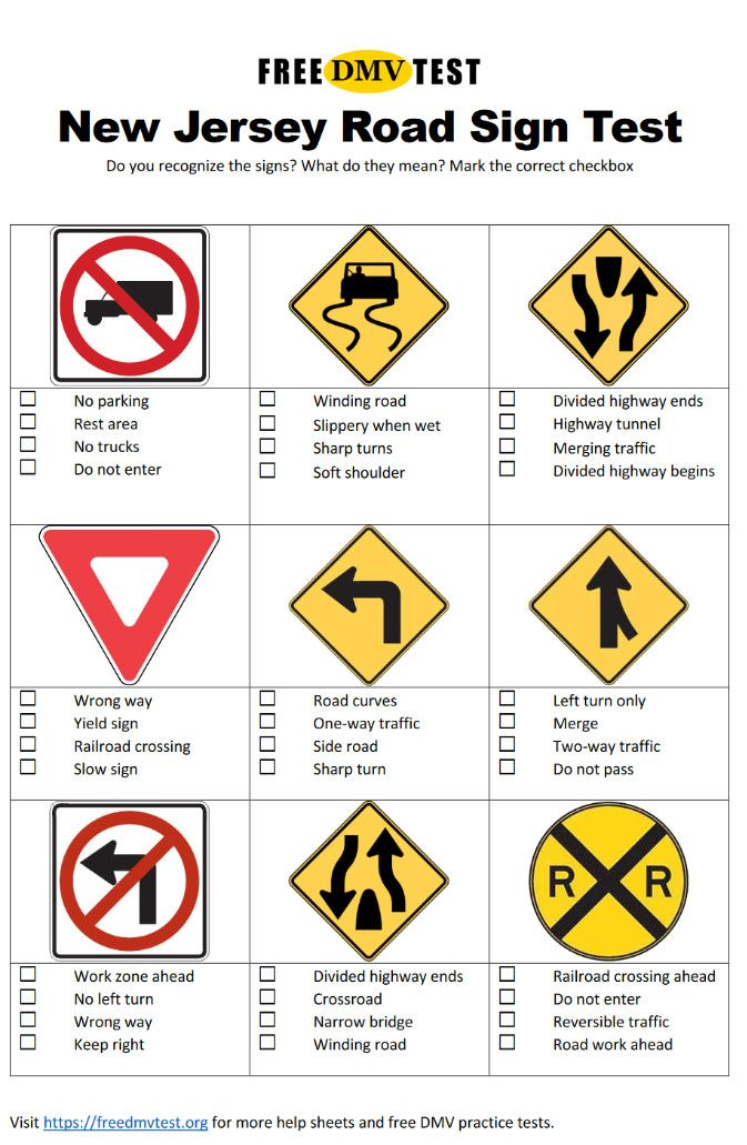 New Jersey Road Sign Test 27 Signs Permit Test Practice
