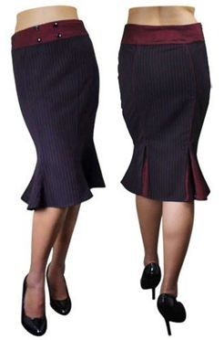the Vivien fishtal skirt with a red pinstripe and a burgundy waistband and flared pleats