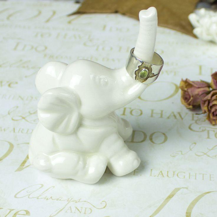 Elephant ring holder Lucky Elephant white jewelry Ceramic Ring Holder handmade pottery Elephant Decor unique gift for her under 25