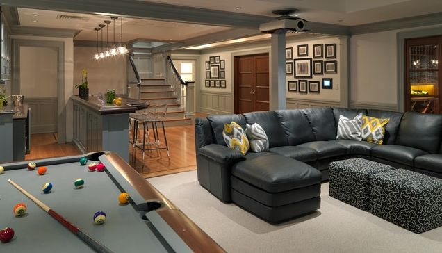 Дизайн подвальной комнаты: разделение пространства