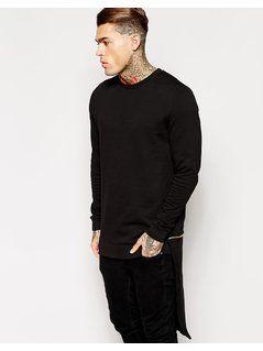 ASOS Longline Sweatshirt With Zip Off Hem Panel - Black