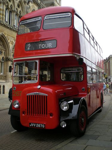 A vintage bus awaiting passengers by the Town hall on Heritage Day