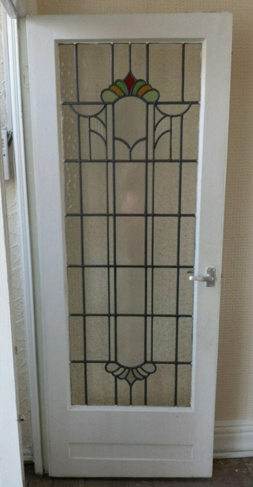 Old Original 1930 S Stained Glass Internal Door