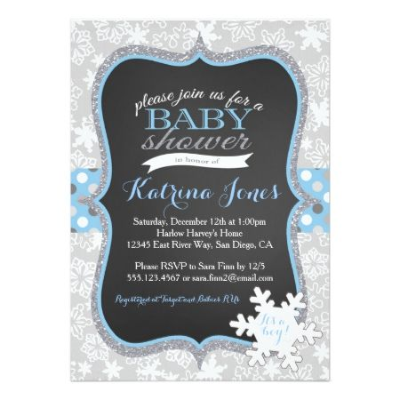 Winter Wonderland Snowflake baby shower invitation - tap to personalize and get yours #babyshower #invitation #babyshowerideas #illustration #illustrations #sweet #cute #editable #babyboy #blue