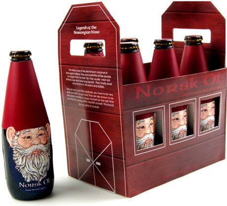 """Norsk Ol"" Brand Norwegian Beer Bottle Gnomes! Amazing packaging design by Ryanna Christianson."