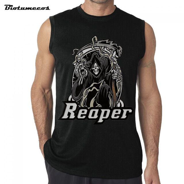 $14.56 Men Sleeveless T-shirt Fashion Brand Tank Tops Undershirts Reaper Wear Robe Hold Sickle Death Printed Mens Summer Vest MWK201