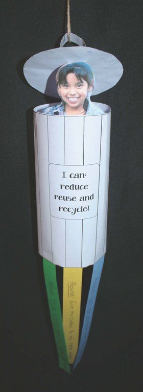 FREE Earth Day writing prompt craftivity. Students write how they reduce, reuse & recycle on the colored strips.
