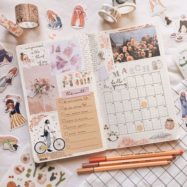 i don't know if you guys noticed but i never shared my february monthly spread because i really didn't like it, but this march one i'm really happy with  it's messy, but that's how i like it nowadays!!  //  find the photos i used in this spread on my pinterest @ colbujo // stickers from aliexpress