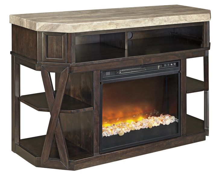 Ashley Signature Design Radilyn Contemporary Medium TV Stand With Fireplace  Insert And Faux Stone Top